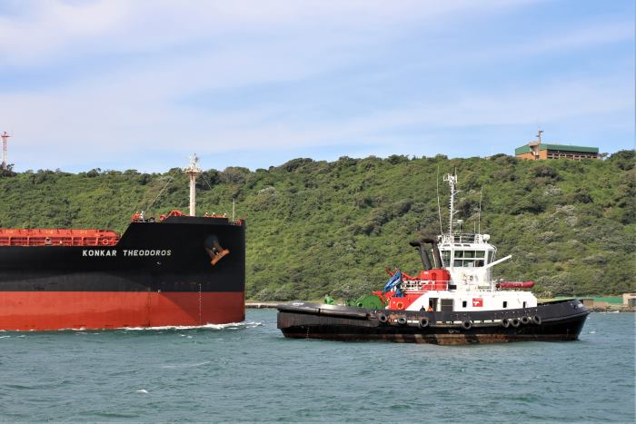 Konkar Theodoros arriving at Durban, April 2018, with attendant tug Lotheni, from a feature in Africa PORTS & SHIPS maritime news