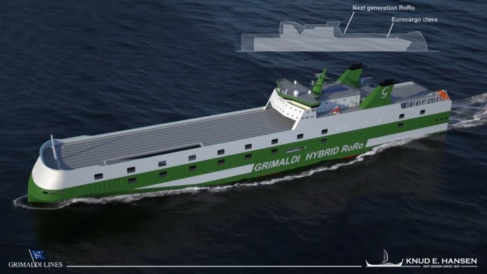 Knud E. Hansen's new design for a RoRo ferry for Grimaldi, appearing wiuth a story in Africa PORTS & SHIPS maritime news