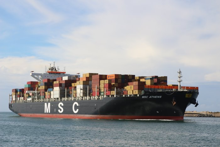 MSC Athens arriving at Durban, May 2018. Picture: Keith Betts, appearing ina  feature in Africa PORTS & SHIPS maritime news