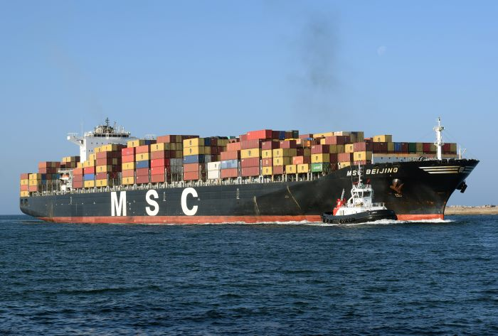 MSC Beijing arriving in the port of Durban, from a photographic featuure with Africa PORTS & SHIPS Maritime News. Picture: Trevor Jones