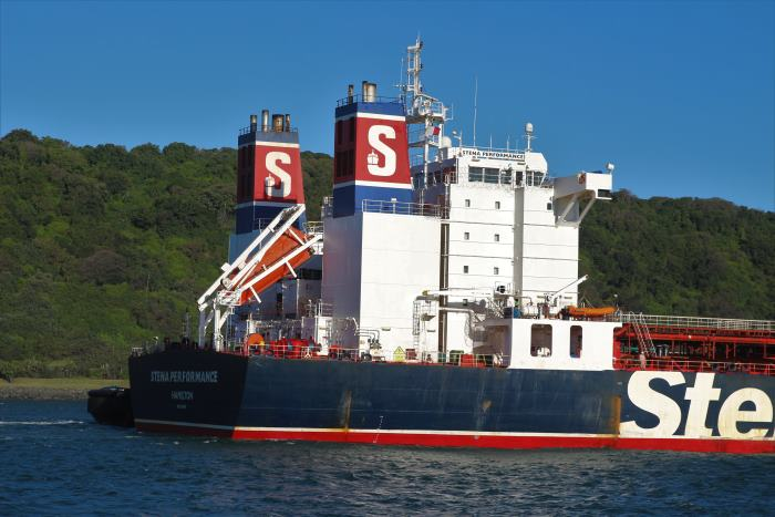 Stena Performance's attractive twin funnels, approaching Durban, by Kieth Betts, appearing in Africa PORTS & SHIPS maritime news