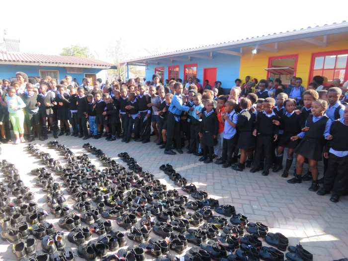 Shoes collected at the Port of Port Elizabeth for needy choolchildren - from an article appearing in Africa PORTS & SHIPS maritime news