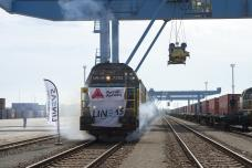 First direct train from China arriving at the port of Antwerp, from a story appearing in Africa PORTS & SHIPS maritime news