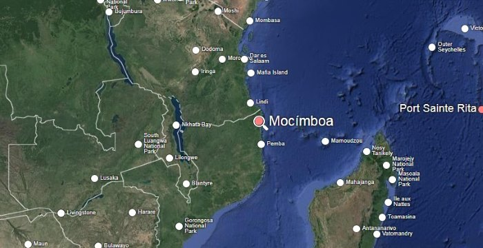 map of Mocimboa and adjecant region, for a story appearing in Africa PORTS & SHIPS maritime news