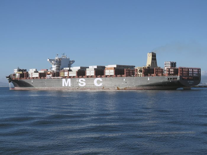 MSC Branka departing from Cape Town. Picture: Ian Shiffman, appearing in a feature in Africa PORTS & SHIPS Maritime News
