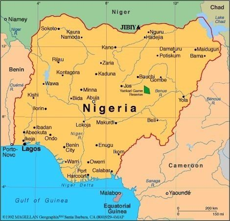 Map of Nigeria showing both Ibadan and Kano, appearing with Africa PORTS & SHIPS maritime news