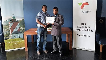 Sivayogan Moodley from TNPA LNS was one of only two delegates who received a First Class Pass or a minimum average of 75% across all modules for the Level 1 Aids to Navigation (AtoN) Manager Training, as featured in Africa PORTS & SHIPS maritime news