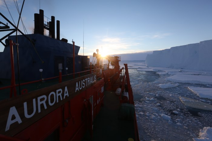 Multi-purpose research and resupply vessel, Aurora Australis arriving at Totten Glacier. Photo: Paul Brown, Australian Maritime College, © appearing in Africa PORTS & SHIPS maritime news