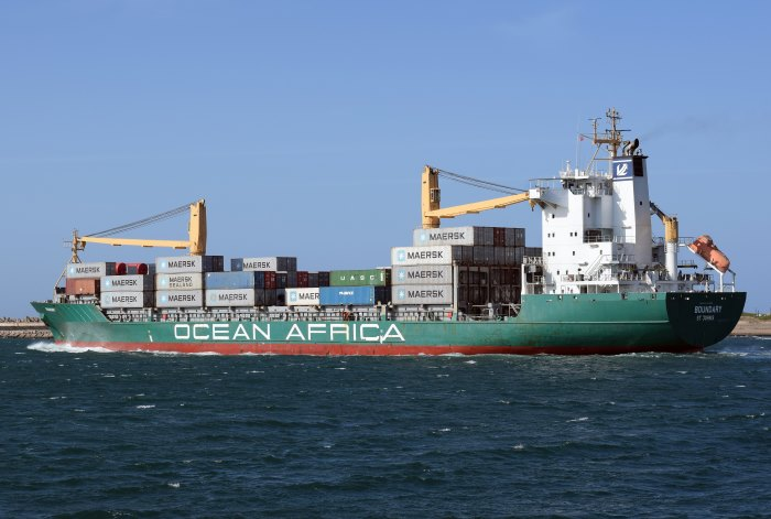 Ocean Africa Line's Boundary sailing from Durban, June 2018, picturfe by Trevor Jones, featured in Africa PORTS & SHIPS maritime news