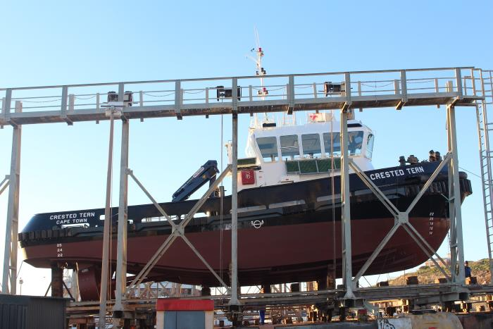 Crested Tern workboat under maintenance at Saldanha.  Picture TNPA
