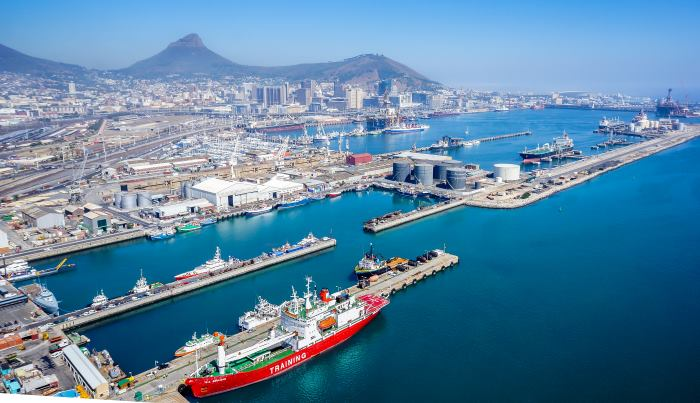aerial view of a section of the Port of Cape Town, appearing in Africa PORTS & SHIPS maritime news