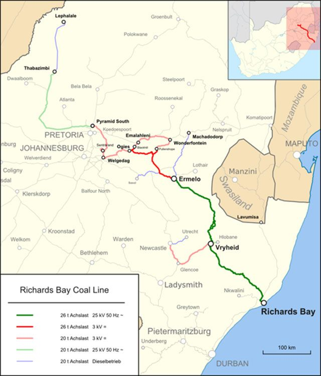 map showing the Richards Bay coal lines and connections, featured in a report in Africa PORTS & SHIPS maritime news