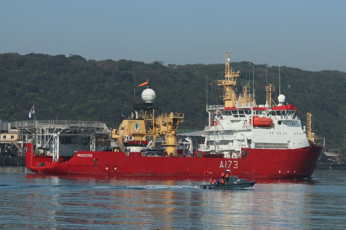 HMS Protector in Durban harbour, featured in report in Africa PORTS & SHIPS maritime news. Picture: Keith Betts