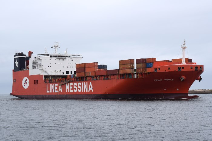 Messina Line's Jolly Perla in Durban. Picture: Trevor Jones, appearing in Africa PORTS & SHIPS maritime news