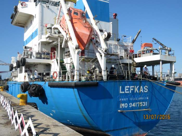 Lefkas, a South African-registered bunker tanker owned by Aegean Marine, as repored in a feature in Africa PORTS & SHIPS maritime news