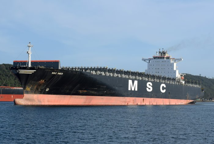 MSC Ines going on sea trials at Durban, appearing with article in Africa PORTS & SHIPS maritime news. Picture is by Trevor Jones