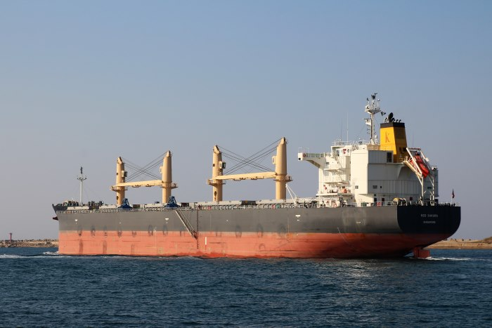 Red Sakura leaving Durban in mid June, photographed y Keith Betts, and appearing in Africa PORTS & SHIPS maritime news