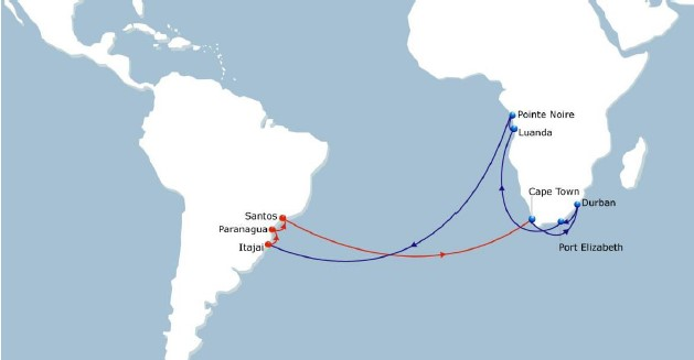 SAMWAF June 2018 route map, appearing in Africa PORTS & SHIPS maritime news