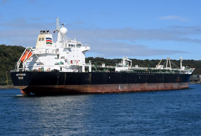 Aktoras arriving off Durban, by Trevor Jones, appearing in Africa PORTS & SHIPS maritime news