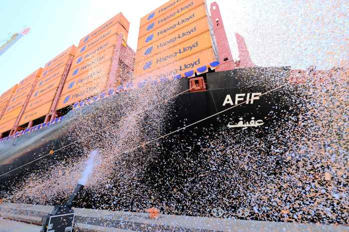 Naming of Hapag-Lloyd's AFIF, appearing in Africa PORTS & SHIPS maritime news