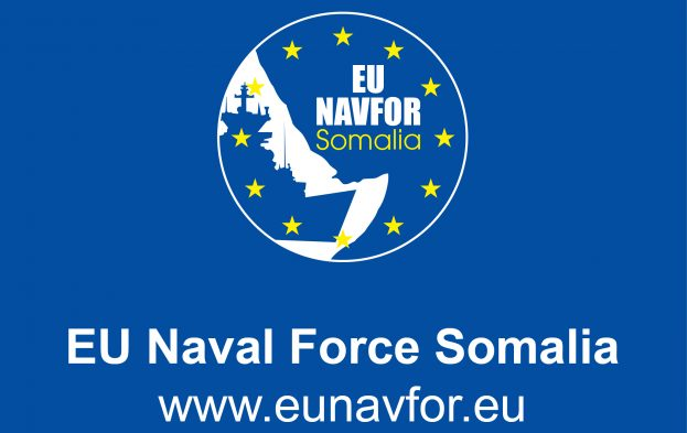 EU NAVFOR banner logo, appearing with article in Africa PORYS & SHIPS maritime news