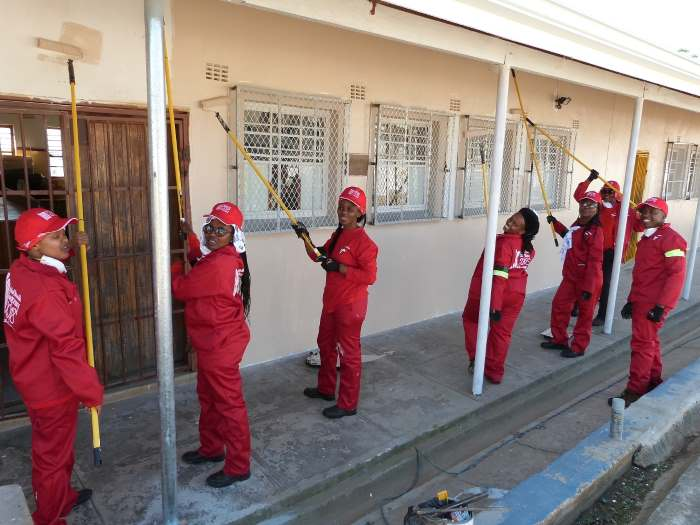 Port of East London employees paint the Qunu Junior Primary School, Nelson Mandela's first school, appearing in a report if Africa PORTS & SHIPS maritime news