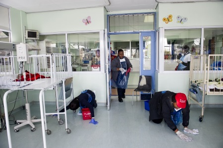 TNPA Head Office personnel at work in the Baragwanath Hospital near Johannesburg, appearing in a report in Africa PORTS & SHIPS Maritime News