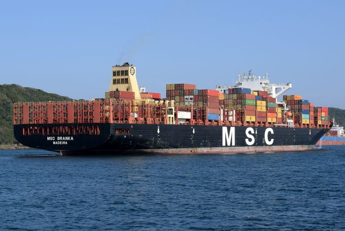MSC Branka in Durban harbour, appearing in Africa Ports & Ships maritime news  Pictures: Trevor Jones