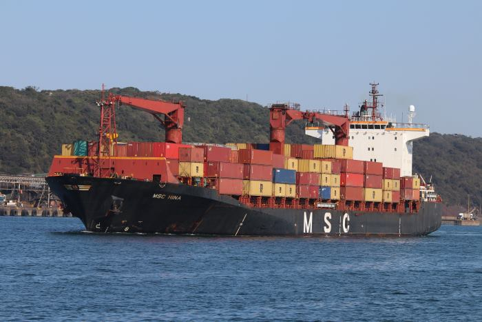 MSC Hina sailing from Durban, July 2018. Picture: Keith Betts, featured in Africa PORTS & SHIPS maritime news