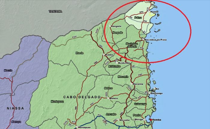Map of the troubled area in northern Mozambique, featured in news report in Africa PORTS & SHIPS maritime news