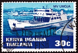 Lake ferry UMOJA featured on a 30c East African stamp, featuring in Africa PORTS & SHIPS maritime news
