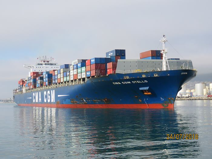 CMA CGM Otello in Cape Town, picture by Ian Shiffman and featured in Africa PORTS & SHIPS maritime news