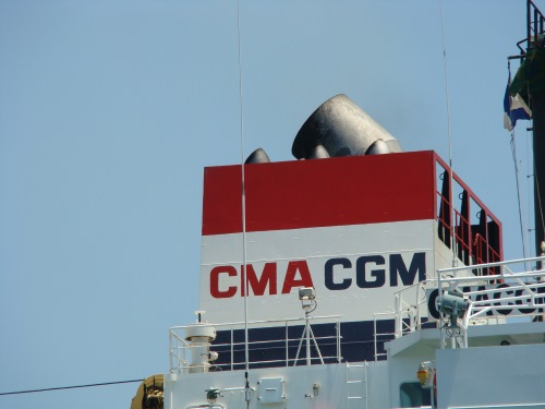 CMA CGM funnel markings, as appearing in Africa PORTS & SHIPS maritime news