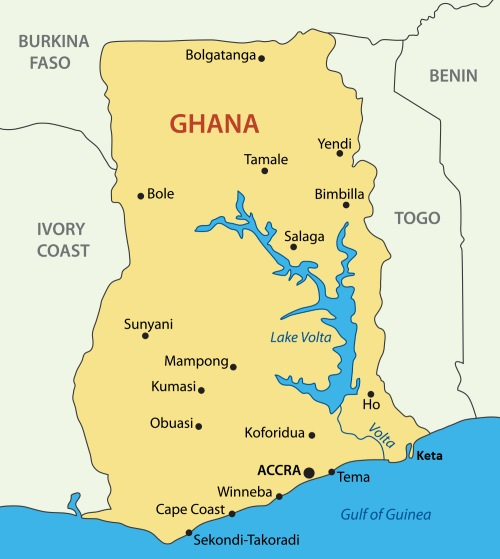 Ghana map showing Keta and neighbouring Togo, featured in a report in Africa PORTS & SHIPS maritime news