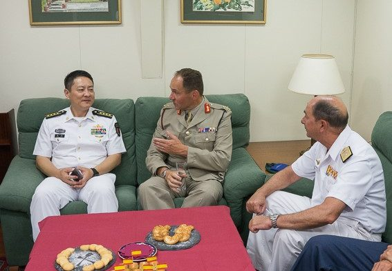 Meeting of EU NAVFOR and Chinese Navy personnel to discuss tactics in counter piracy operations off Somalia