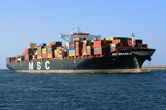 MSC Branka off Durban. Picture: Trevor Jones, appearing in Africa PORTS & SHIPS maritime news