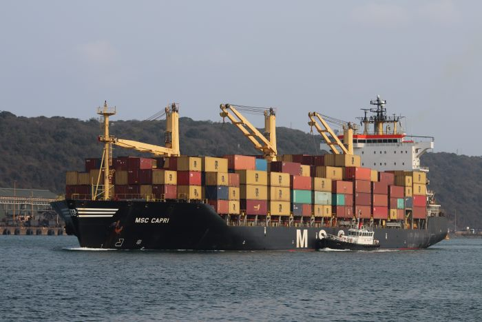 MSC Capri departing Durban for Maputo, by Keith betts and featured in Africa PORTS & SHIPS maritime news