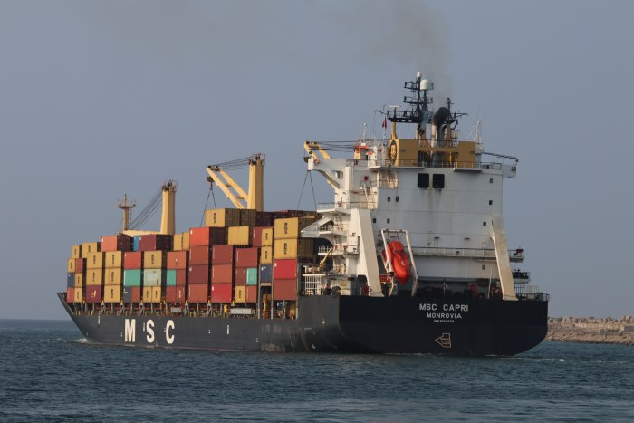 MSC Capri departing Durban for Maputo and featured in Africa PORTS & SHIPS maritime news, Picture by Keith Betts