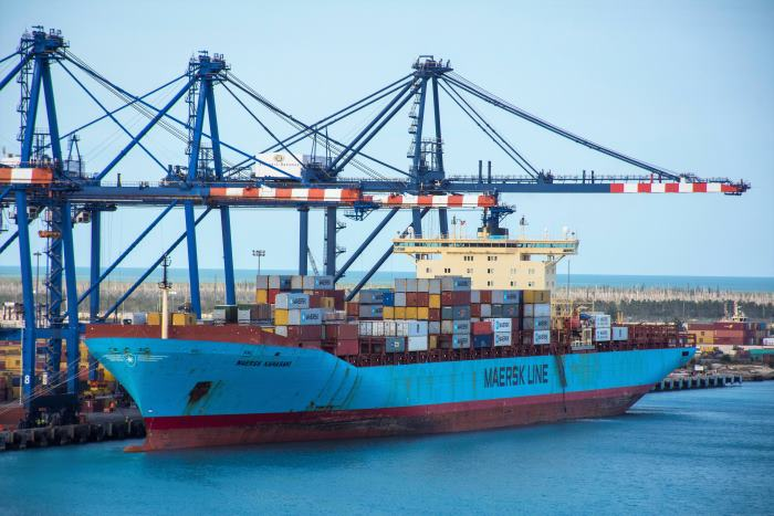 Maersk Kawasaki at Freeport, Bahamas. Picture: Tony de Freitas, featured in Africa PORTS & SHIPS maritime news