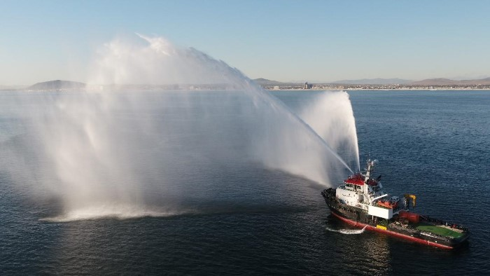 Osanyamo going through her paces off Cape Town earlier this year, featured in Africa PORTS & SHIPS maritime news