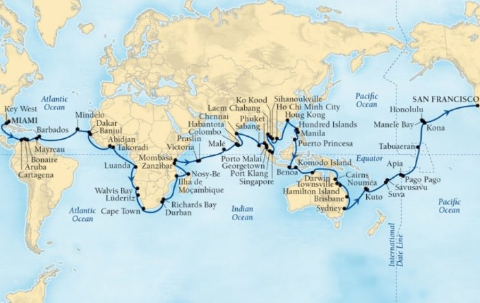 map of Seabourn Sojourn's 2020 World Cruise, appearing in Africa PORTS & SHIPS maritime news