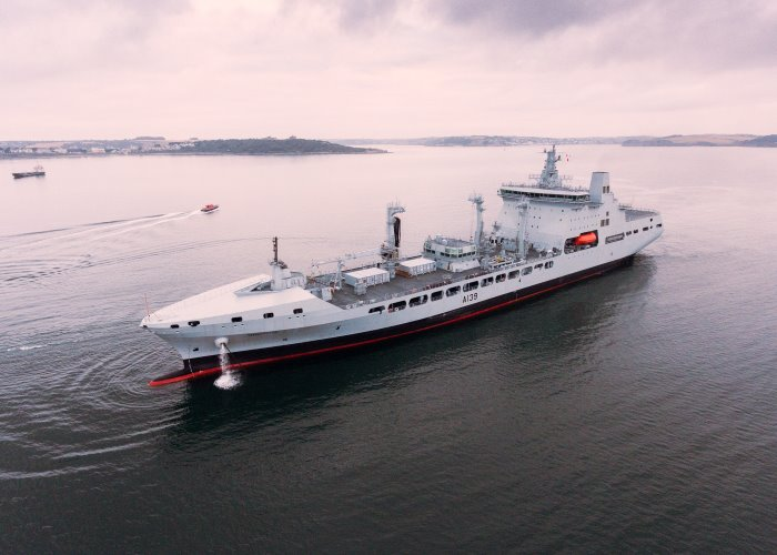 The fourth and final Tide class tanker, RFA Tideforce, has arrived in Cornwall for customisation. The 39,000 tonne vessel, which will deliver fuel and water to naval operations all over the world, follows her sister ships Tidespring, Tiderace and Tidesurge into the A&P Falmouth yard, where work to customise the fleet ahead of operational service is sustaining 300 jobs. With the homecoming voyage complete, all four of the tankers have now arrived safely in the UK, marking the end of a crucial phase of the fleet's delivery programme. Photo: MoD Crown Copyright 2018 ©, featured in Africa PORTS & SHIPS maritime news