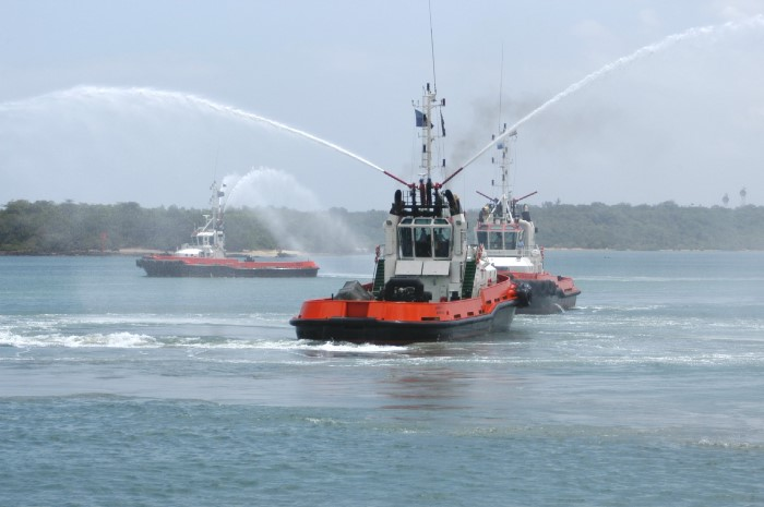 Tugs in the harbour at Mombasa, appearing in Africa PORTS & SHIPS maritime news