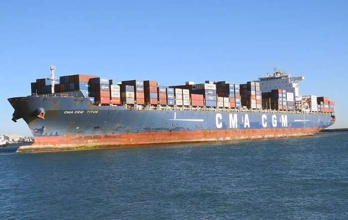 CMA CGM Titus in Cape Town, Picture by Ian Shiffman, appearing in Africa PORTS & SHIPS maritime news