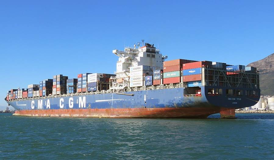 CMA CGM Titus in Cape Town harbour, appearing in Africa PORTS & SHIPS maritime news. Pictures: Ian Shiffman