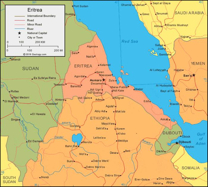 map or Eritrea and adjacent Ethiopia, featured in Africa PORTS & SHIPS maritime news