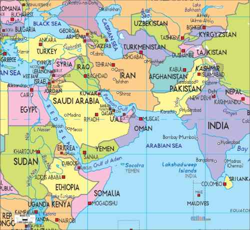 Map of the Middle East and Africa, featured in Africa PORTS & SHIPS maritime news