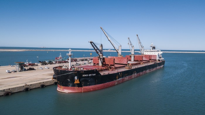 Genco Brittany making history in the Port of Ngqura. Pictures courtesy: TNPA, featured in Africa PORTS & SHIPS maritime news
