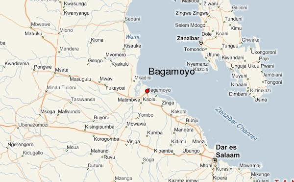 Map showing location of the proposed new Bagamoyo port in Tanzania, featrured in Africa PORTS & SHIPS maritime news