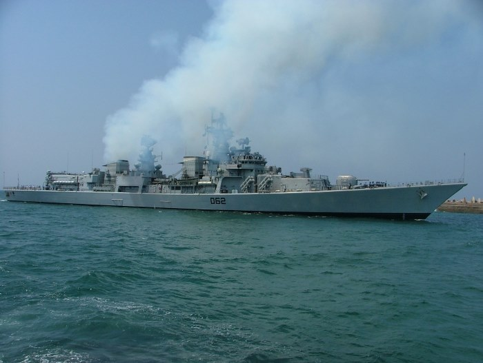 Arriving in Durban under her own smokescreen is Indian Navy ship INS Mumbai on an earlier visit to SA. Clouds of white smoke were the order of the day for this and other ships. Picture by Terry Hutson, appearing in Africa PORTS & SHIPS maritime news